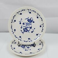 "Set of 2 Vintage Syracuse China Nantucket 10"" Dinner Plates White w/Blue Floral"