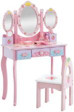 Kinder Schminktisch mit Spiegel + Hocker-Frisiertisch Kinderstuhl Tisch Pink