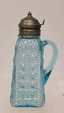 Antique American Early Molded Glass Creamer Pitcher Pewter Lid
