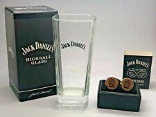 JACK DANIELS TALL GLASS & CUFFLINKS SET - CUFF LINKS BARREL PUB BAR WHISKEY