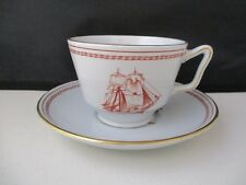 """SPODE TRADE WINDS RED LONDON CUP & SAUCER  2 5/8""""- 1002I"""