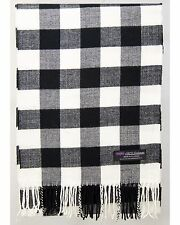 100% Cashmere Scarf Black White Flannel Check Plaid Soft Scotland Wool R92 Men