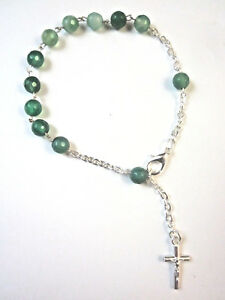 Rosary Bracelet with GREEN AGATE Gemstone Beads and Crucifix Made in Italy New