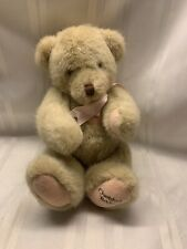 "1994 Dakin Cherished Teddies Jointed Teddy Bear - Tan - 12"" - Pink Ribbon"