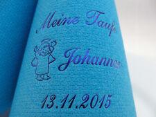 50 mit NAME des Kindes bedruckte Kaffee-Servietten + Datum+Motiv für TAUFE/BABY