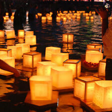 10x Chinese Square Paper Floating Water River Candle Lanterns Light Wishing Lamp