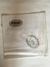 Monogrammed Handkerchief with blue letter F in floral wreath. new in packet