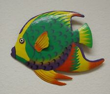 """OUTDOOR HAITIAN 8"""" METAL GRN FRENCH ANGEL FISH  TROPICAL HANGING WALL ART DECOR"""