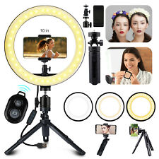 10'' Dimmable LED Ring Light Video Photo Lighting Lamp+Tripod Stand+Phone Holder