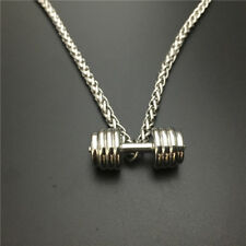 Sports Barbell Dumbbell Stainless Steel Pendant Necklace for Men Jewelry Women