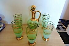 Vintage  German 1940s 50s Retro Glass Decanter + 5 Glass Drinks Set Wine Water
