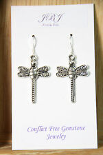 Dragonfly Earrings bug Spiral Drop 925 sterling silver pewter charms