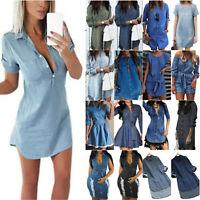 AU Ladies 3/4 Sleeve Longline Denim Shirt Dresses Travel Jeans Mini Casual Dress