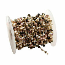 3 Feet Multi Tourmaline, Pearl Rondelle Smooth 4-4.5mm Beads, Rosary Gold Chain