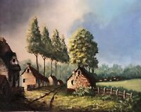 Vintage Mid-Century Impressionist Oil Canvas Landscape Country Cottage Painting