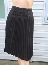 Max Studio Brown Pleated Midi Skirt Sz 14 UK 18 Wool Spandex Blend NWT Orig $198