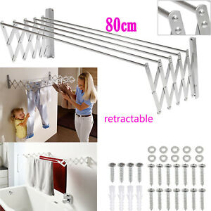 Laundry Clothes Storage Drying Rack Retractable Folding Dryer Hanger Wall-mount