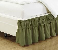 Mk Collection Wrap Around Style Easy Fit Elastic Bed Ruffles Bed-Skirt Sage #78X