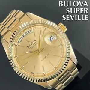 Vintage Bulova Super Seville ETA2834-2 Automatic Gold Dial Day/Date Mens Watch