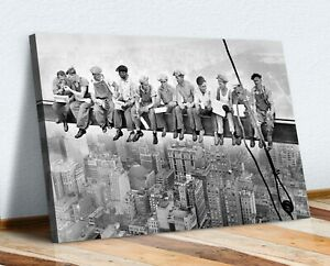 CANVAS WALL ART PRINT ARTWORK - LUNCH ATOP A SKYSCRAPER