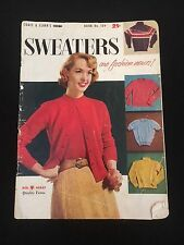 Vintage Coats & Clark Sweater Pattern Magazine Book No. 509 1950's