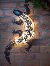 Solar Powered valla Gecko Pared Arte/luz estática o intermitente Jardín