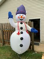 Retired older GEMMY GIANT Airblown INFLATABLE 8' tall SNOWMAN Christmas + Box