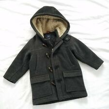 Baby Gap Boys Wool Toggle Coat Winter Size 4T Dark Gray Charcoal Peacoat