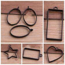 Drop Alloy Open Back Bezel Pendants Hollow Mold Frame Pendants DIY Crafts 10PCS
