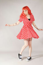 Vestiti da donna rossa fantasia pois in misto cotone