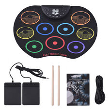 Roll-Up Drum Set Electronic Drum Kit 9 Silicon Drum Pads USB/Battery Kids G4N6