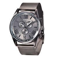 New Luxury Men's Date Sport Analog Quartz Stainless Steel Mesh Band Wrist Watch*