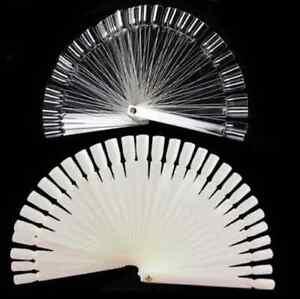 50 Clear Natural False Display Nail Art Fan Wheel Polish Practice Tip Stick