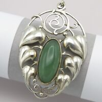 Vtg Antique Art Nouveau Jugendstil 800 Silver Signed Natural Chrysoprase Pendant