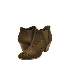 Women's Shoes City Classified Kristen Perforated Ankle Heel Booties Khaki *New*
