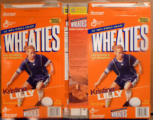 1999 Wheaties, Kristine Lilly, Women's Soccer Boxes, Lot of 2 Flat, FS