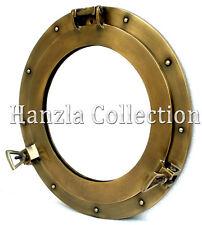 "15"" Antique Brass Porthole Window Maritime Nautical Ship Port Mirror Wall Decor"