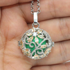 Crystal Flower Aromatherapy Diffuser Locket Harmony Chime Ball Pendant Necklace