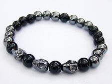 Men's hematite black glass elasticated Bracelet hematite SKULL 8mm  beads 8inch