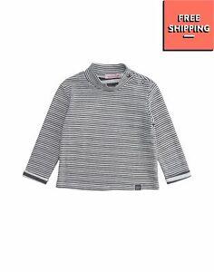 MIRTILLO Top Size 24M / 92CM Worn Look Striped Long Sleeve Polo Neck