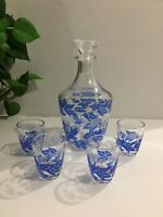 French Glass Decanter With 4 Shot Glasses Retro Mid Century Blue / Silver