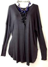 Forever 21 + grey tie up front long sleeve plus size top 1,1X