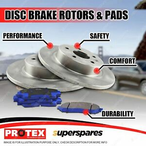 Protex Rear Disc Brake Rotors + Blue Pads for Mitsubishi Magna TF TJ TL TW VR-X