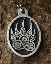 TRIBAL BEAR PAW PEWTER Pride PENDANT Necklace wth chain