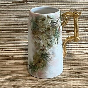 Hand Painted Signed Antique Pinetree Porcelain Tankard Mug Signed Gold Handle 7""