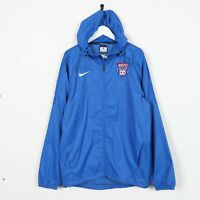 Vintage NIKE USA Small Logo Soft Shell Hooded Jacket Blue | Small S