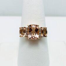 New! 3ct Genuine Morganite Diamond 14k Rose Gold Ring (7308)