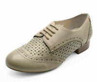 LADIES REAL LEATHER STONE FLAT LACE-UP BROGUE LOAFERS SMART CASUAL SHOES UK 3-8
