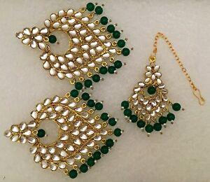 Green Bridal Maang Tikka Earring Pearl Kundan Bollywood Gold Tone Indian Jewelry