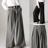 100% coton Femme Casual en vrac Loose Poche Décontracté Pantalon Jambe Large